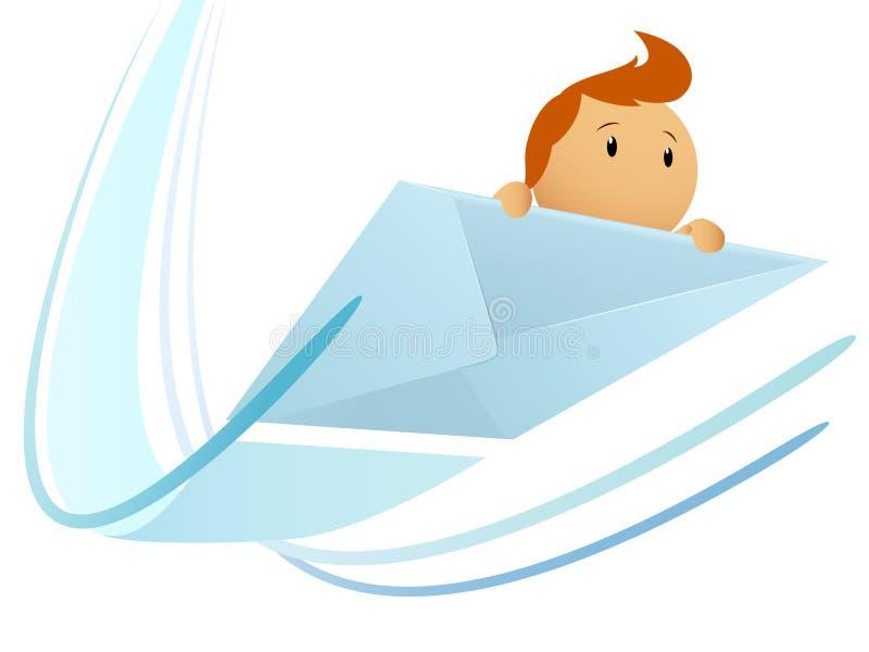 персонаж из мультфильма охваывает летание иллюстрация вектора