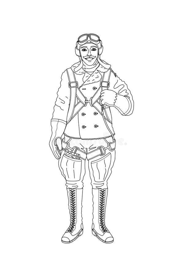 Персонаж из мультфильма пилота вектора иллюстрация штока