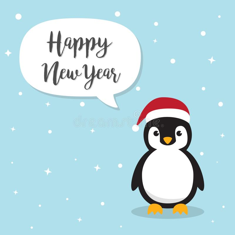 Персонаж из мультфильма пингвина Милые пингвины нося шляпу Санта Клауса бесплатная иллюстрация