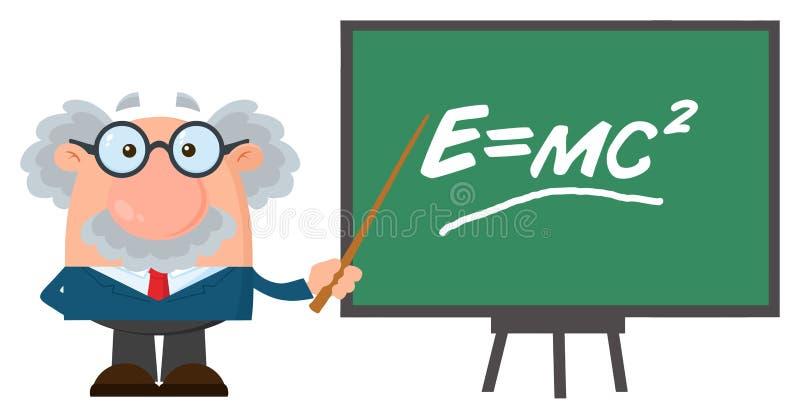 Персонаж из мультфильма профессора или ученого при указатель представляя формулу Эйнштейна бесплатная иллюстрация