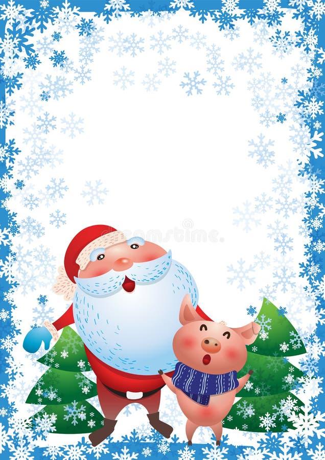 Персонаж из мультфильма Санта Клауса смешной Piggy символ Нового Года иллюстрация штока