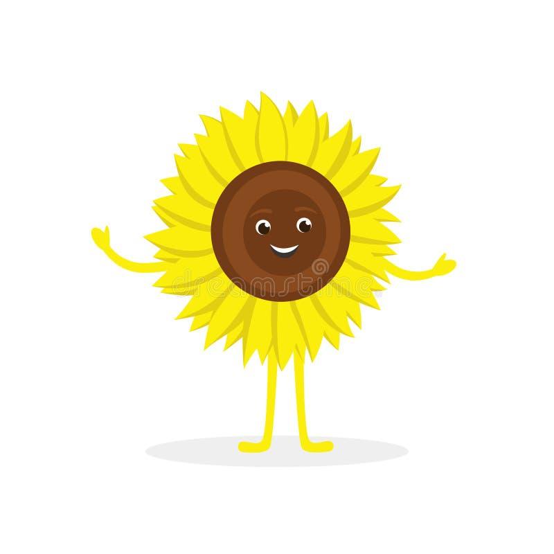 Персонаж из мультфильма солнцецвета изолированный на белой предпосыл бесплатная иллюстрация