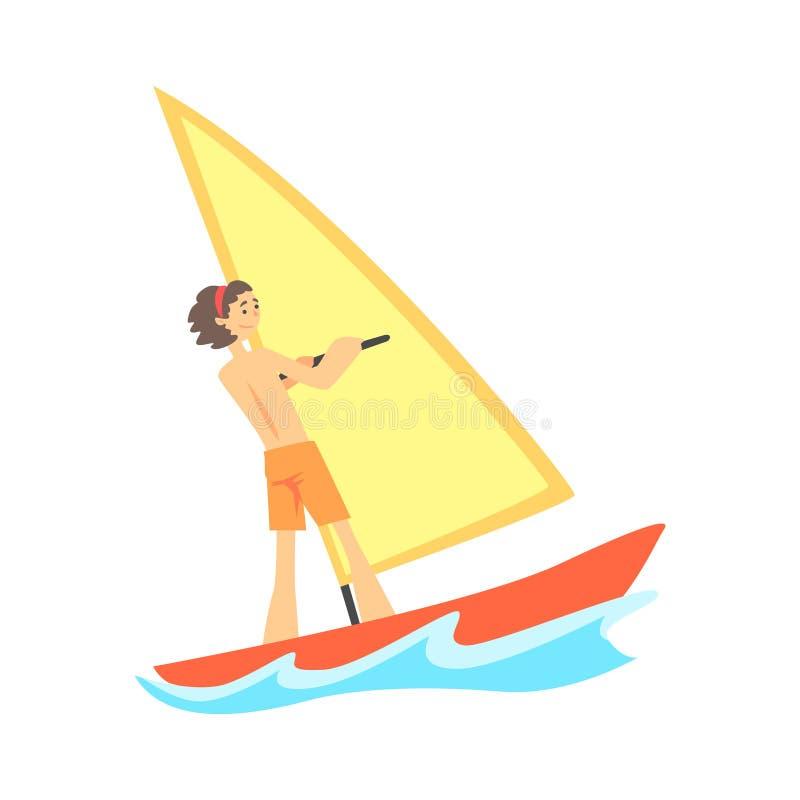 Персонаж из мультфильма усмехаясь виндсерфинга молодого человека бесплатная иллюстрация