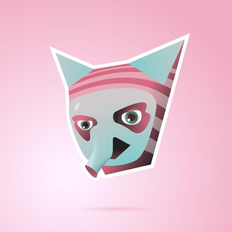 Персонаж из мультфильма фантазии с ушами и пинком хобота иллюстрация штока
