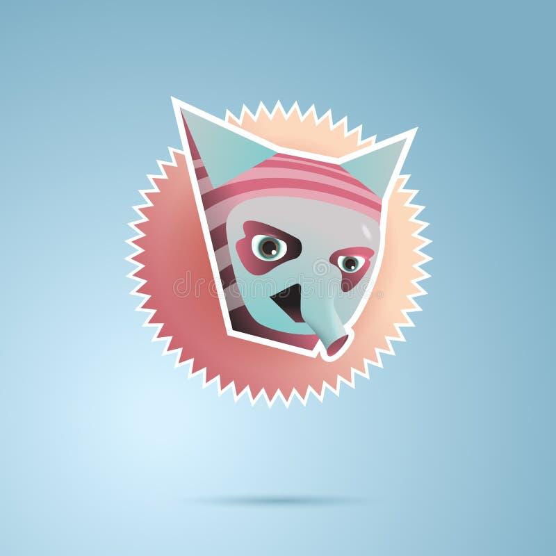 Персонаж из мультфильма фантазии с ушами и хоботом иллюстрация штока