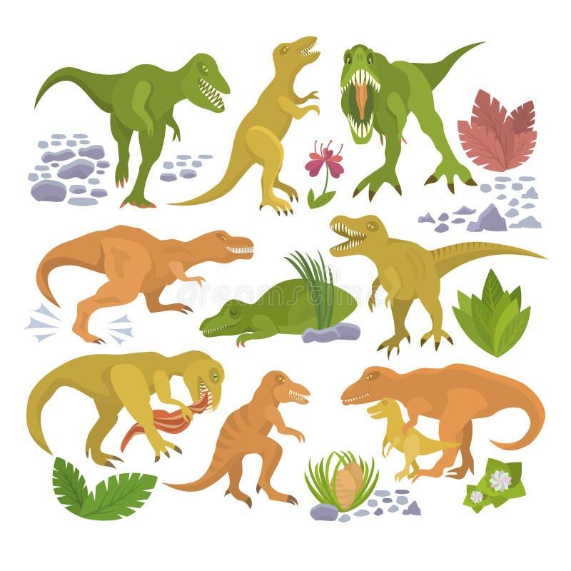 Персонаж из мультфильма dino rex тиранозавра вектора динозавра и комплект иллюстрации юрского tyrannosaur атакуя старого иллюстрация вектора