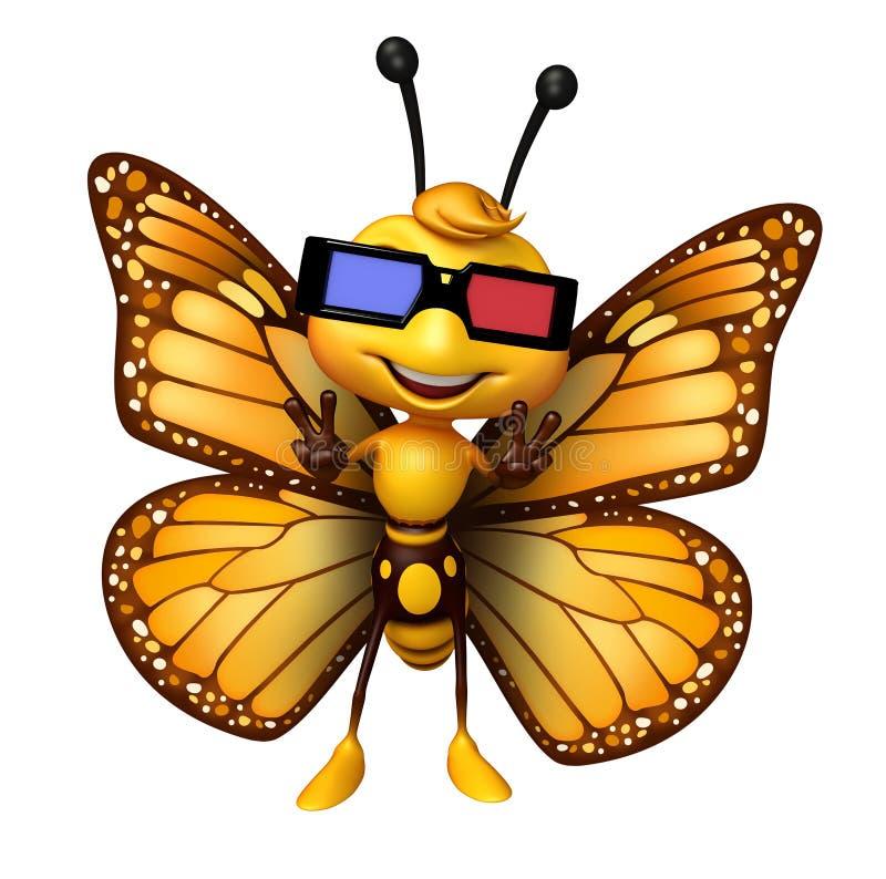 персонаж из мультфильма бабочки потехи с 3D gogal иллюстрация вектора