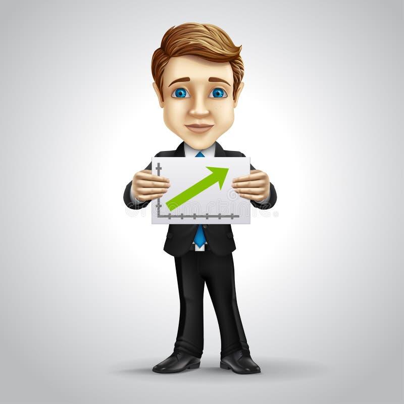 Персонаж из мультфильма бизнесмена вектора Верхняя часть стрелки иллюстрация штока