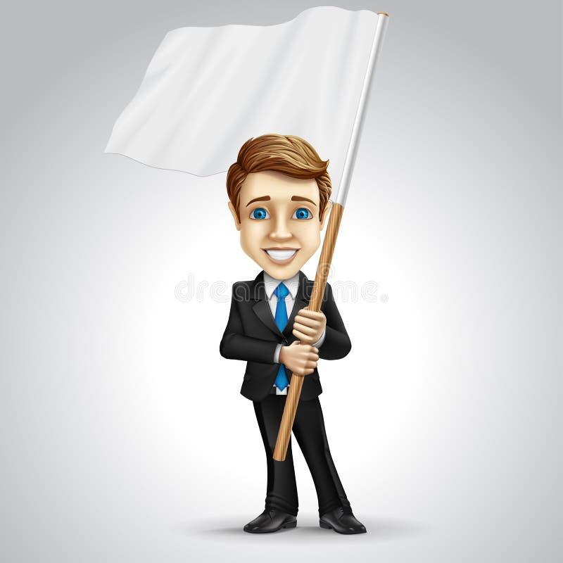 Персонаж из мультфильма бизнесмена вектора держа иллюстрация вектора