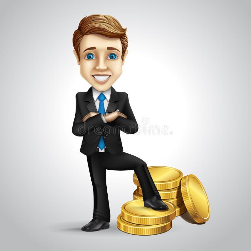 Персонаж из мультфильма бизнесмена вектора положил ногу дальше иллюстрация вектора