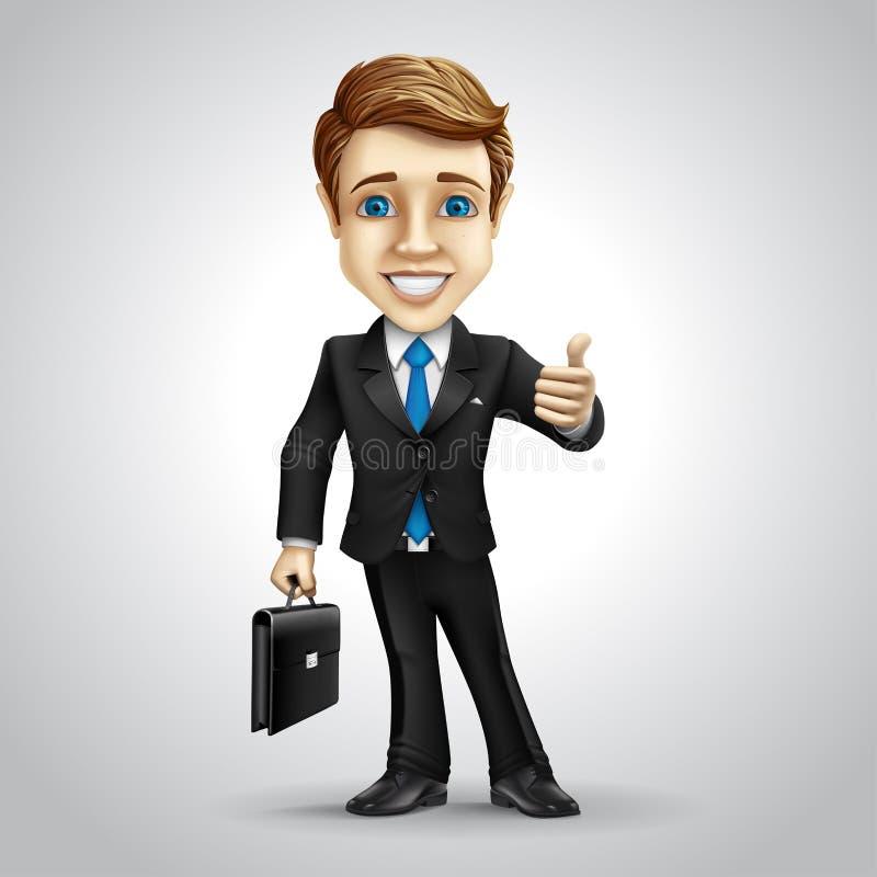 Персонаж из мультфильма бизнесмена вектора иллюстрация вектора