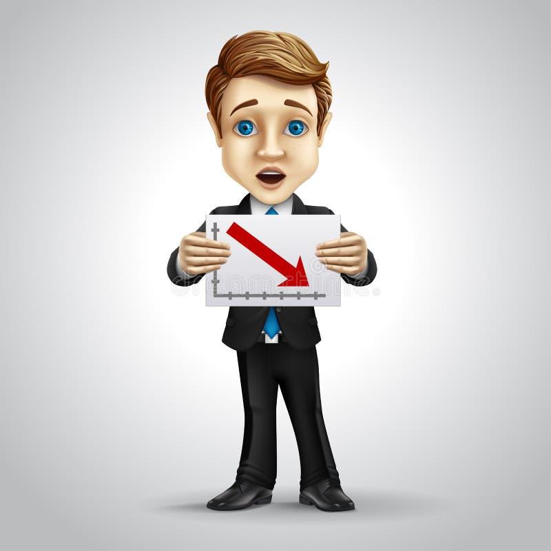 Персонаж из мультфильма бизнесмена вектора иллюстрация штока