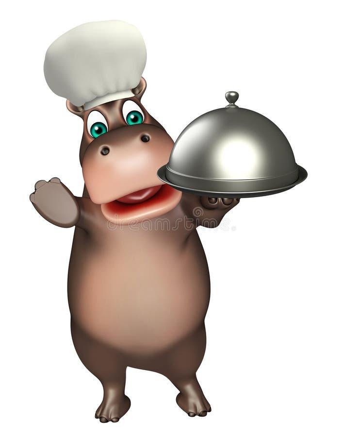 Персонаж из мультфильма гиппопотама потехи с шляпой и cloche шеф-повара бесплатная иллюстрация