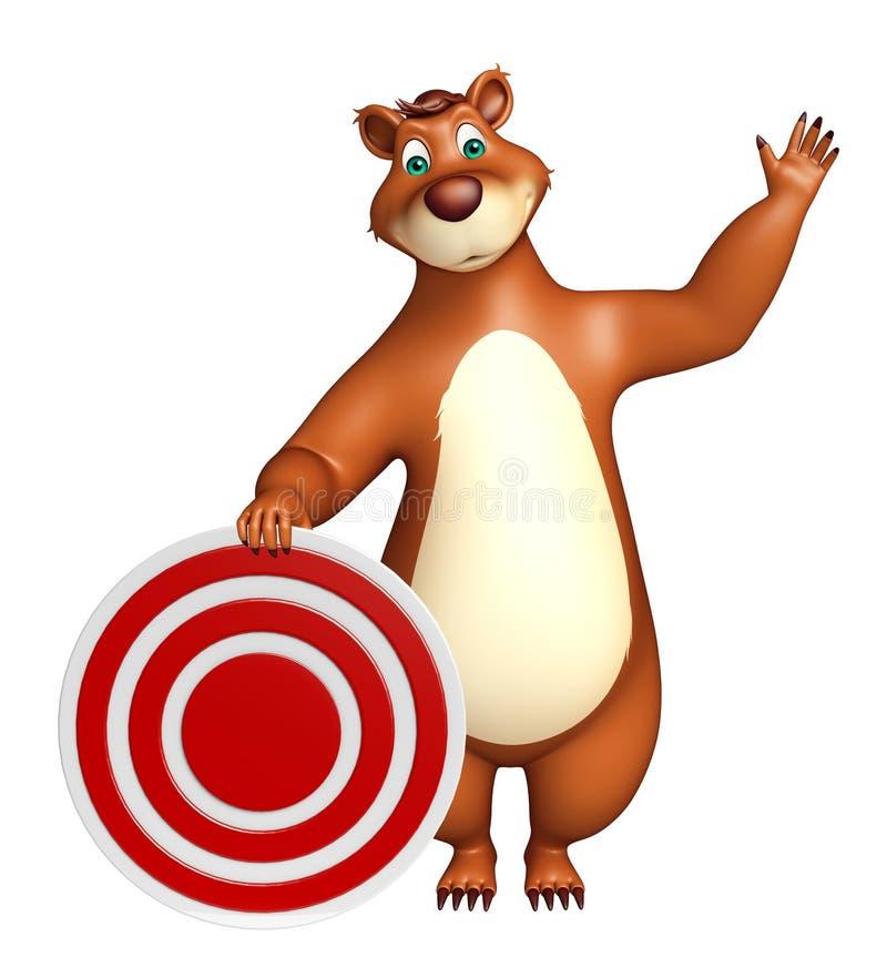 Персонаж из мультфильма медведя потехи с знаком цели иллюстрация штока