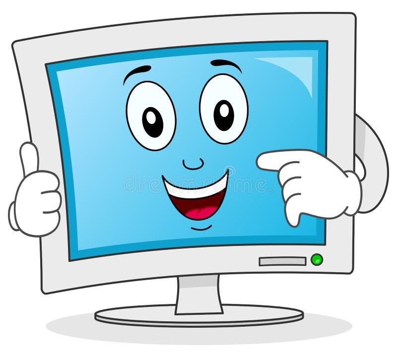 Персонаж из мультфильма монитора компьютера иллюстрация вектора