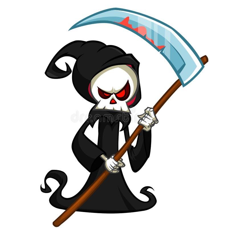 Персонаж из мультфильма мрачного жнеца при коса изолированная на белой предпосылке Милая смерть бесплатная иллюстрация