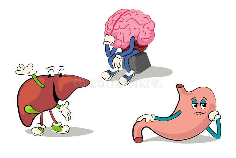 Персонаж из мультфильма набор человеческих внутренних органов бесплатная иллюстрация