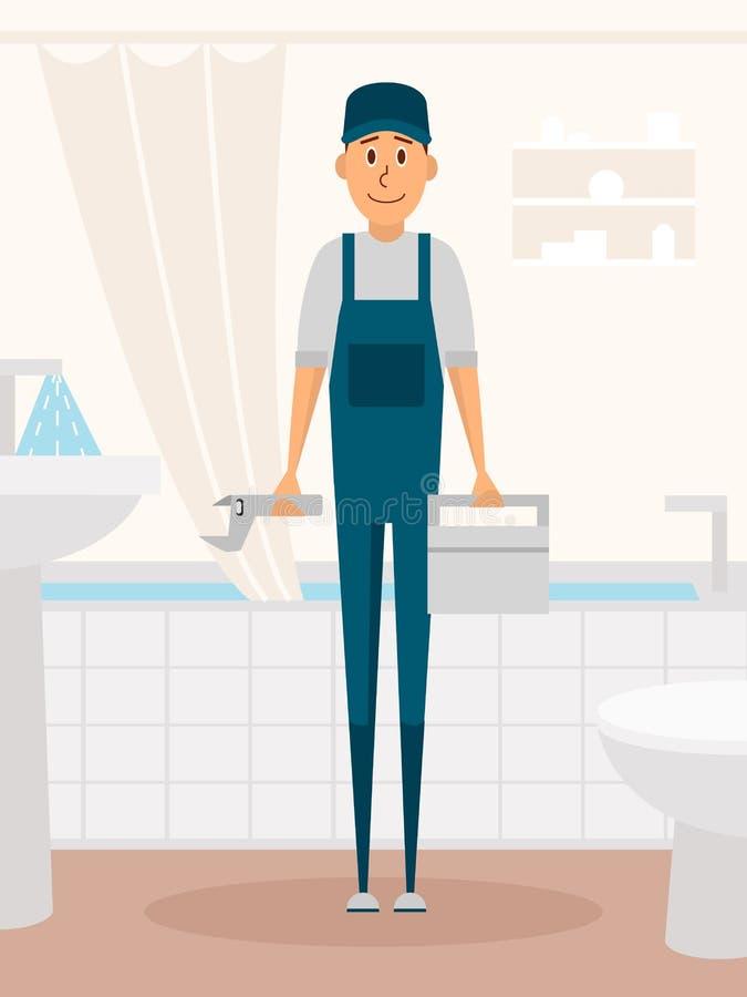 Персонаж из мультфильма работника водопроводчика Мужской характер стоя в ванной комнате держа ключ резцовой коробки и водопроводч бесплатная иллюстрация