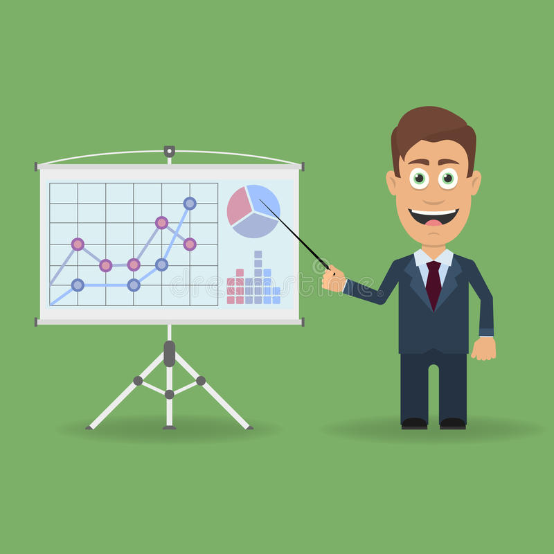 Персонаж из мультфильма с указателем около стойки представления с диаграммами дела бесплатная иллюстрация