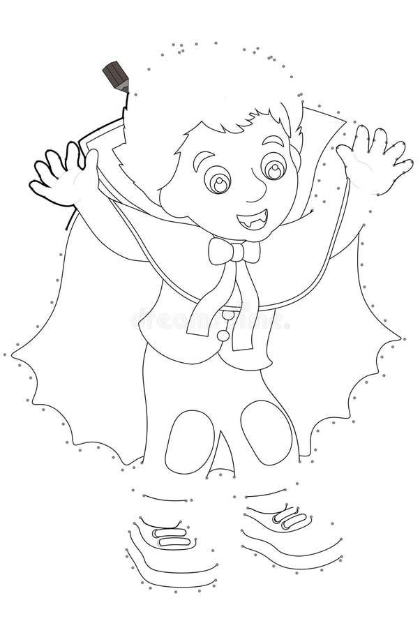 Персонаж из мультфильма - хеллоуин - следовать линией - вампиром иллюстрация штока