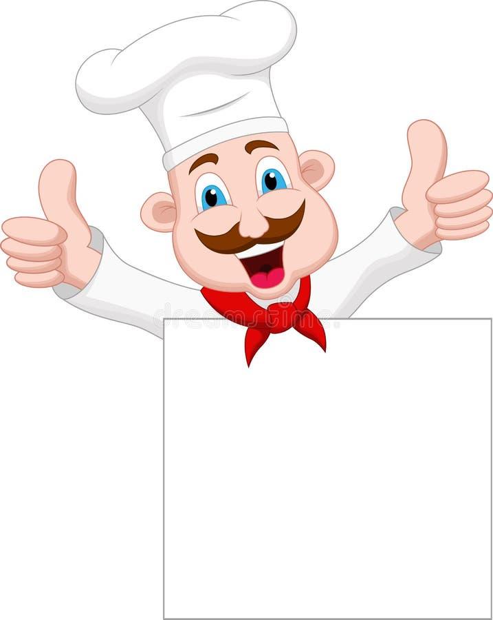 Персонаж из мультфильма шеф-повара с пустым знаком стоковые фотографии rf