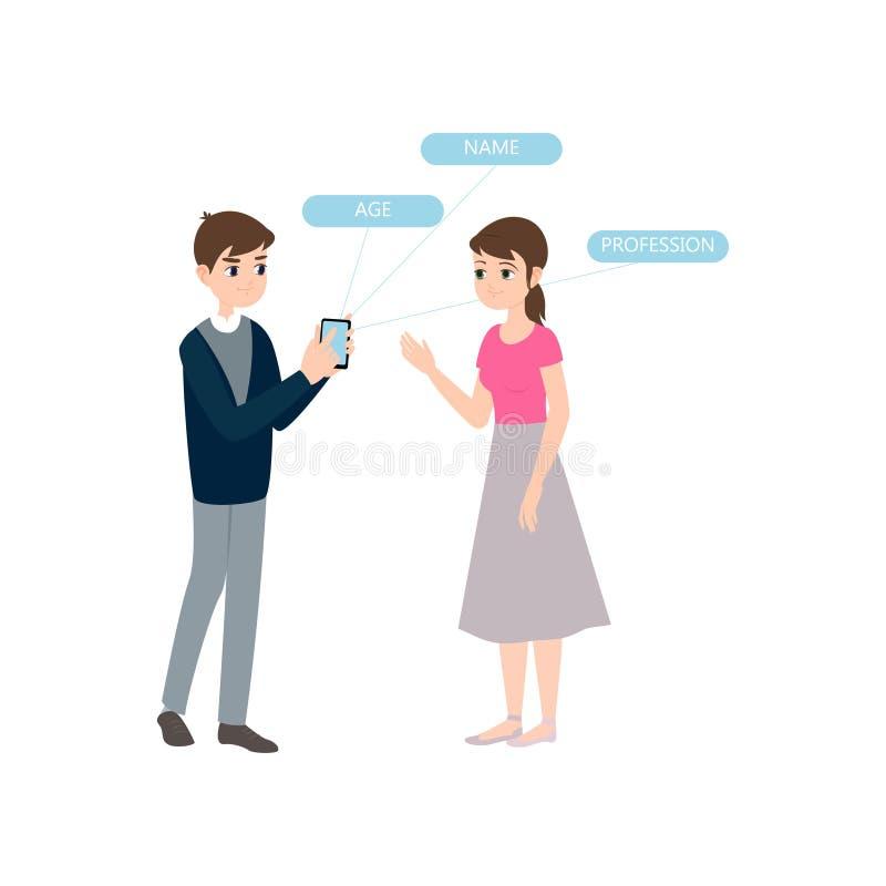 Персональная информация смартфона шоу девушки встречи мальчика иллюстрация вектора