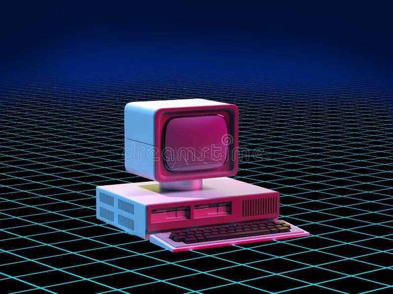 персональный компьютер стиля 80s иллюстрация штока