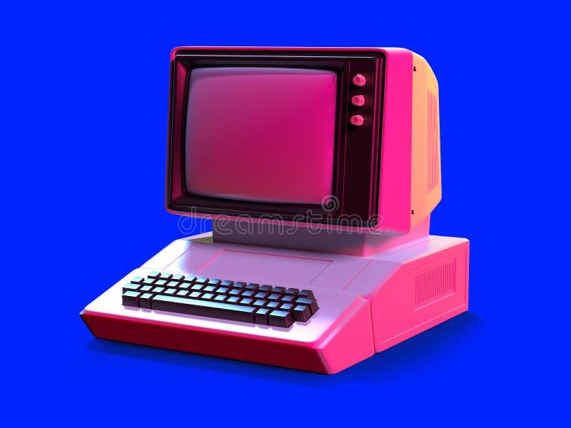 персональный компьютер стиля 80s иллюстрация вектора