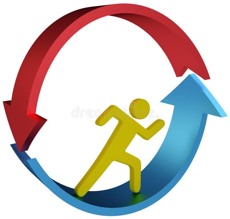 Персона бежать в стрелках цикла иллюстрация штока