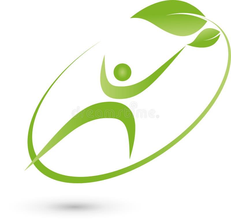 Персона в движении и логотипе листьев, фитнеса и здоровья бесплатная иллюстрация