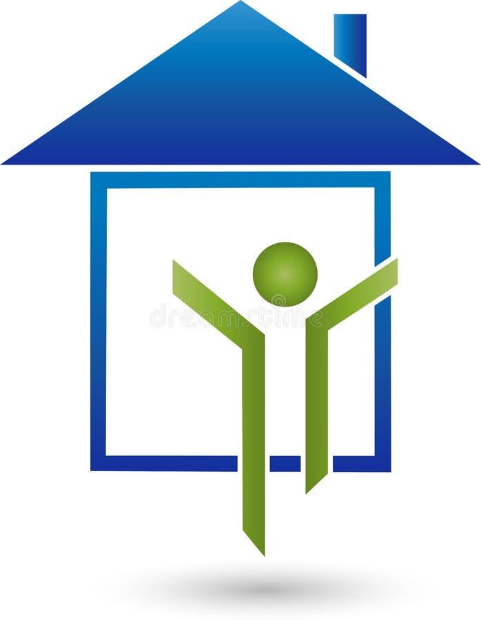 Персона в движении и логотипе дома, дела и недвижимости иллюстрация вектора