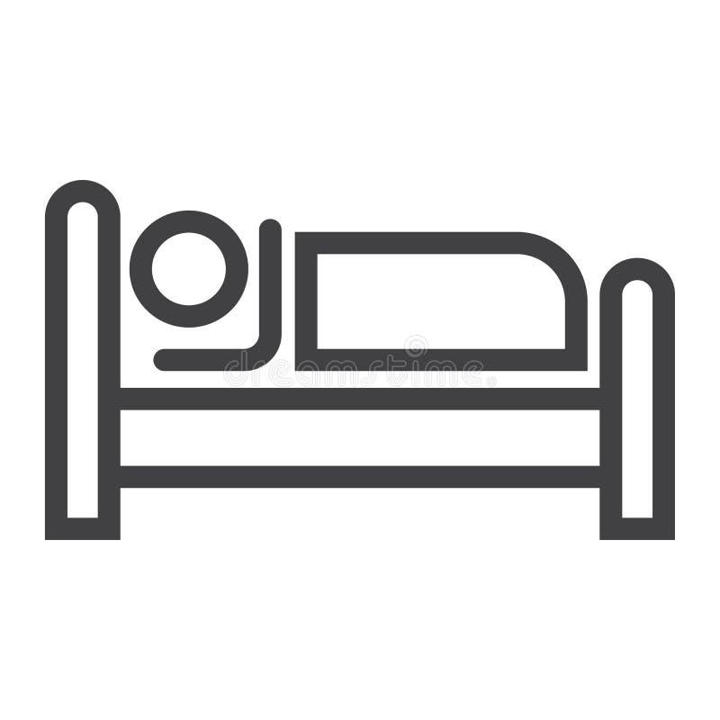 Персона в кровати и линии значке гостиницы бесплатная иллюстрация