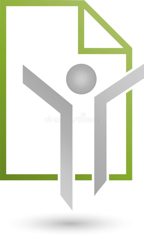 Персона в логотипе движения и письма, дела и образования бесплатная иллюстрация