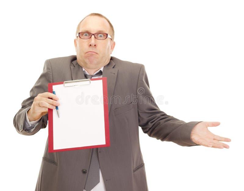 Персона дела с доской сзажимом для бумаги стоковая фотография rf
