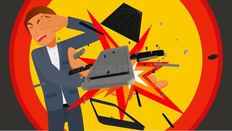 Download Персона держа Smartphone взрывая в руке Иллюстрация вектора - иллюстрации насчитывающей пожар, телефон: 81813758