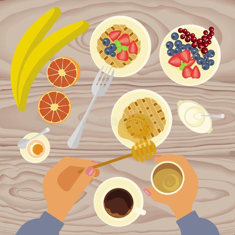 Персона ест завтрак иллюстрация вектора