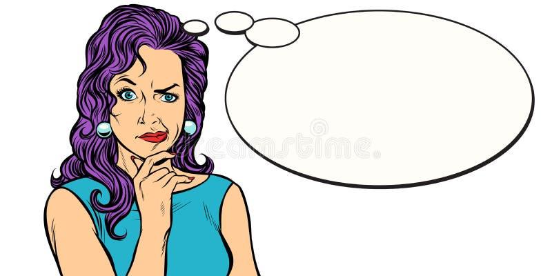 Персона женщины скептичная передразнивает шуточный воздушный шар иллюстрация штока