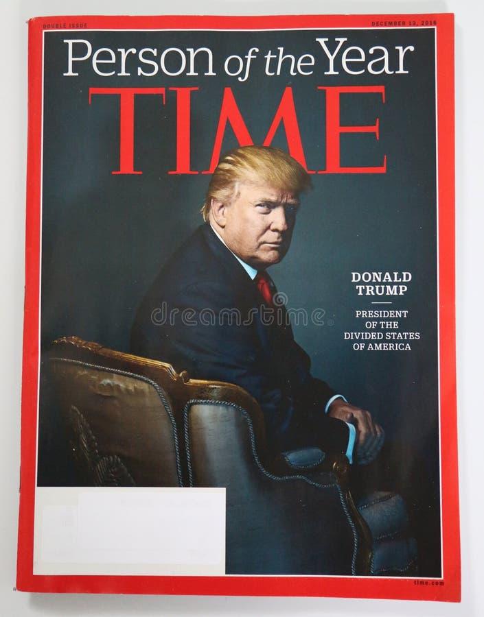 Персона журнала Тайм вопроса года 2016 с Дональдом j козырь стоковая фотография