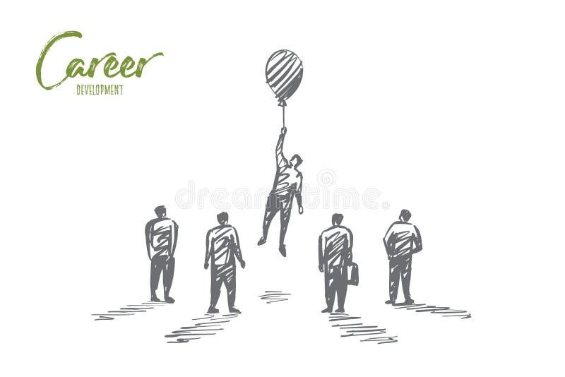 Персона нарисованная рукой летая вверх с воздушным шаром иллюстрация штока