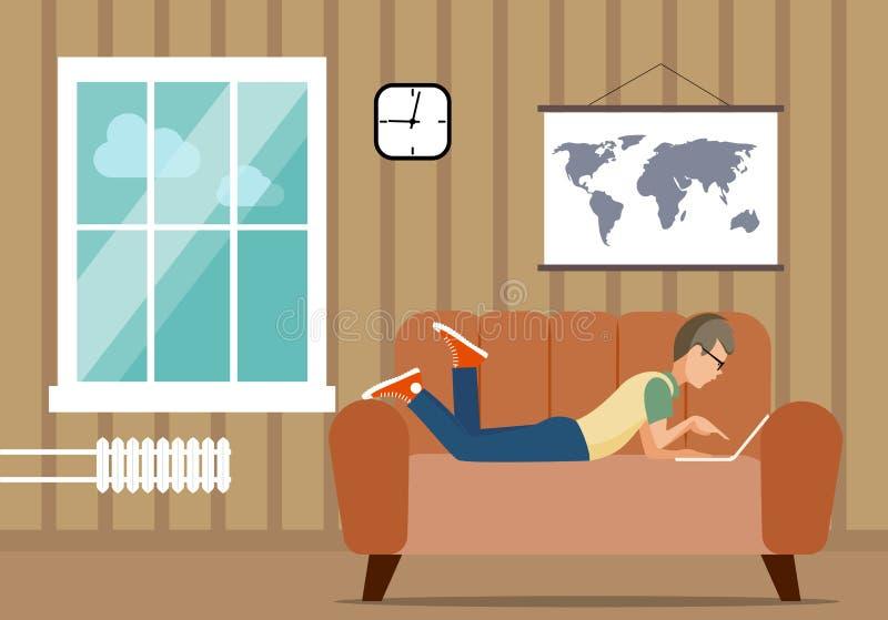 Персона на компьютере в ситуации дома иллюстрация иллюстрация вектора