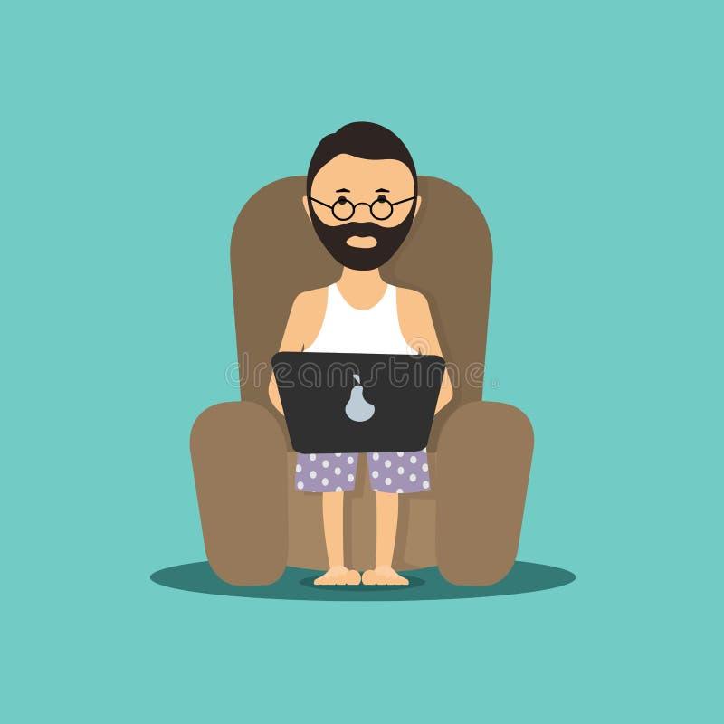 Персона на компьютере в стуле иллюстрация бесплатная иллюстрация