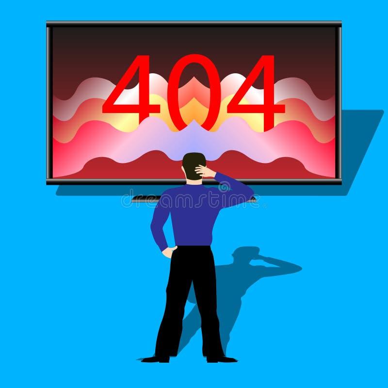 Персона перед монитором показывая ошибку 404 иллюстрация штока