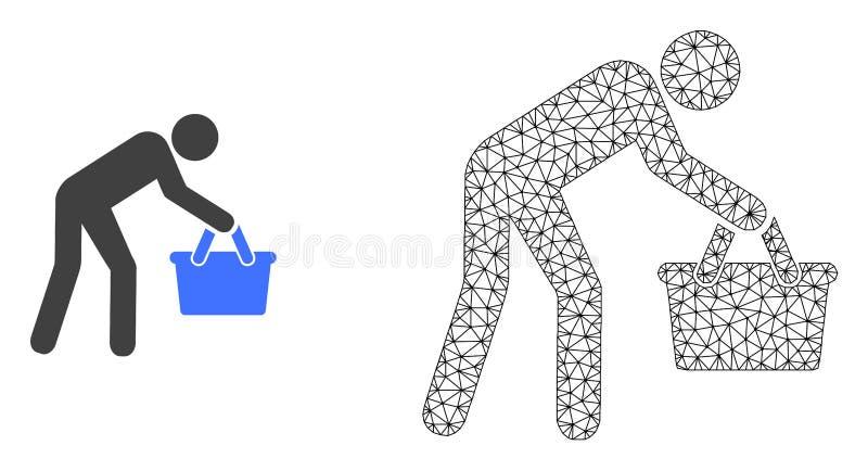 Персона покупателя полигональной сетки вектора уставшая и плоский зн иллюстрация штока