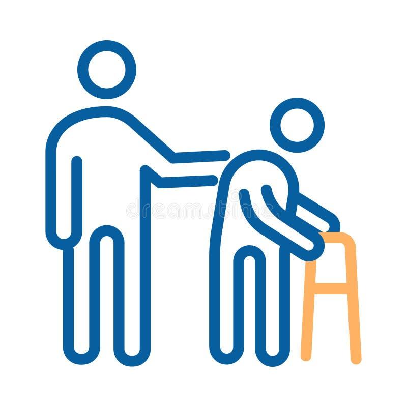 Персона помогая старому пациенту Линия иллюстрация вектора тонкая значка здравоохранение для более старых людей иллюстрация вектора