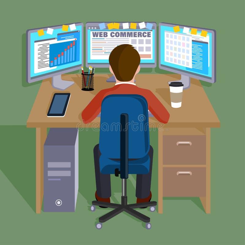 Персона работая в компьютере интернет концепции торговый иллюстрация штока