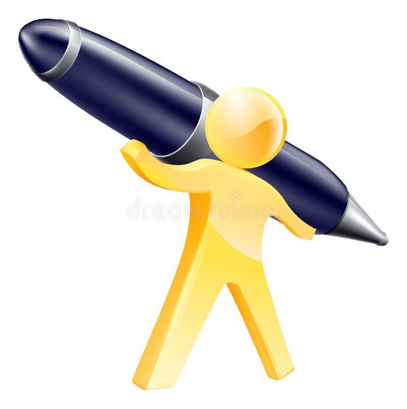 Персона с гигантской ручкой иллюстрация вектора