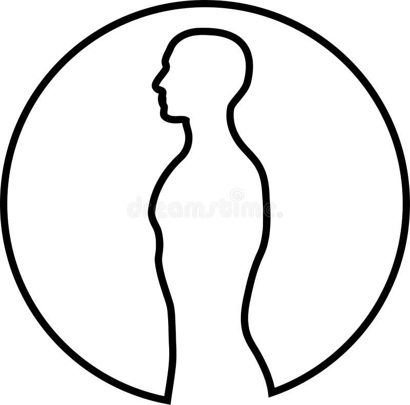 Персона, человеческая в ярлыке стикера круга, фитнеса и спорта иллюстрация вектора