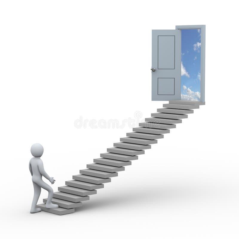 персона 3d и лестница к открыть двери иллюстрация штока