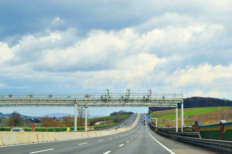 Перспектива в дороге во время путешествовать стоковые изображения rf