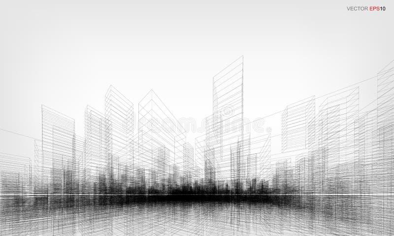 Перспектива 3D представляет wireframe здания также вектор иллюстрации притяжки corel иллюстрация вектора